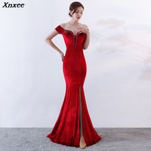 Xnxee Wine Red Velvet Beige Off The Shoulder Long Mermaid Slim Sexy Slit Women Elegant Club Celebrity Party Dress Vestidos