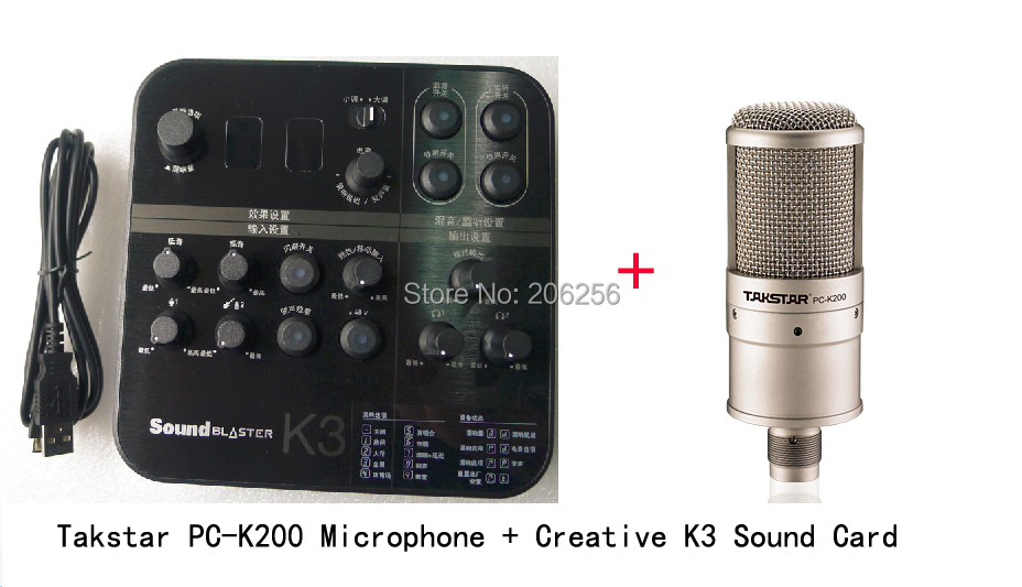 Adaptable Takstar Pc-k200 Microphone +creativek3 Usb Sound Card Recording Microphone K Song Broadcast With Audio Cable
