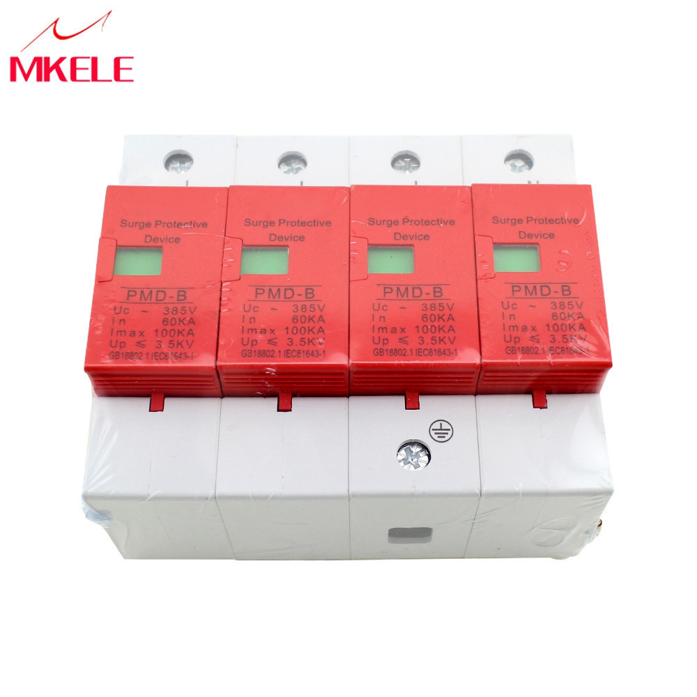 House Surge Protector Protective SPD 4P 60KA~100KA ~420VAC AC Circuit Breakers Low voltage Arrester Device