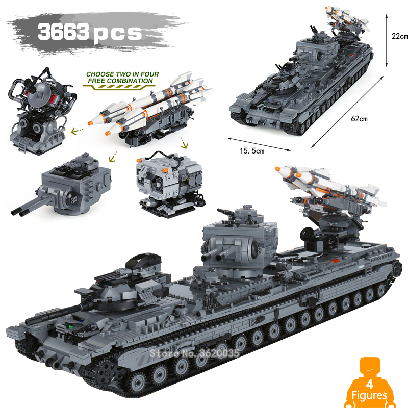 3663PCS Heavy 3 Heavy firepower tank KV-2 with Legoinglys military Building Blocks ww2 Figures Weapons toys for children gift цена