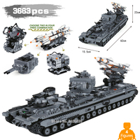 3663PCS Heavy 3 Heavy firepower tank KV 2 with Legoinglys military Building Blocks ww2 Figures Weapons toys for children gift