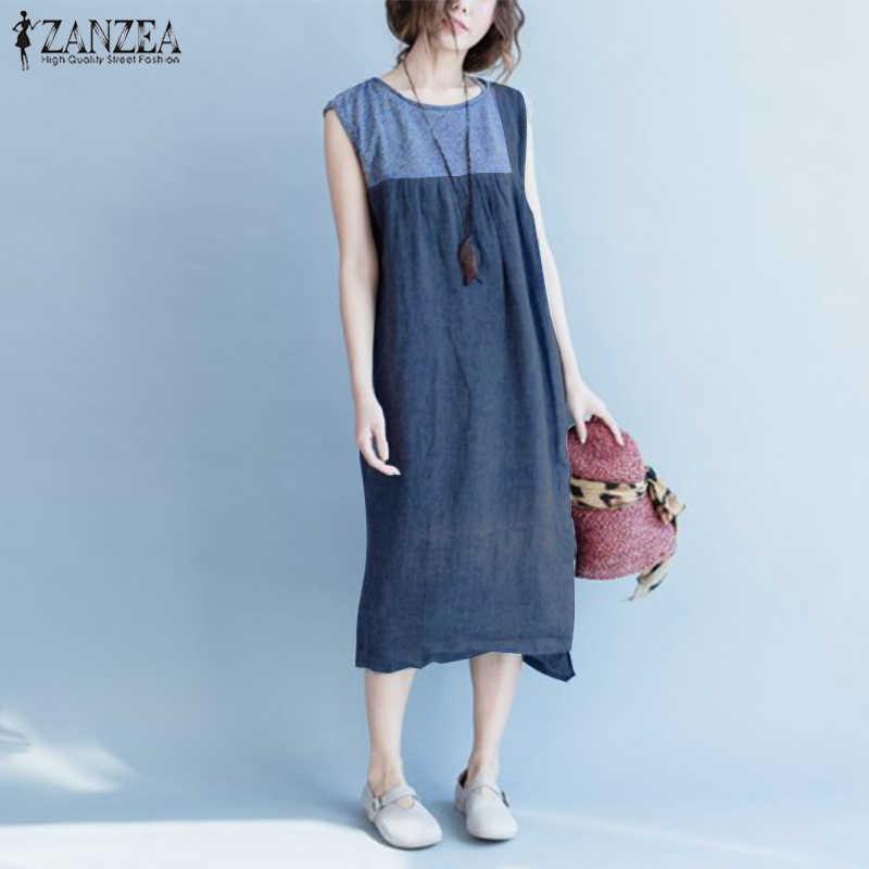 2019 zanzea 여름 드레스 여성 빈티지 민소매 패치 워크 vestido sarafans 캐주얼 femme baggy beach sundress robe femininas 7