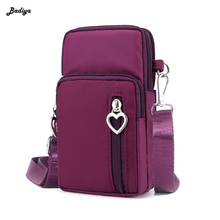 Ladies Mobile Phone Shoulder Bags Multi-Pockets Coin Zipper Pouch Crossbody Bag Nylon Women Travel Wrist Bags Waterproof women floral embroidery bag ladies black crossbody totes canvas three zipper travel beach phone coin bags shoulder messenger bag