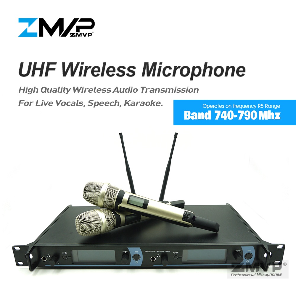 Free shipping! 2050 Professional UHF Wireless Microphone Karaoke System with Gold Color Dual Handheld Transmitter Microfone Mic free shipping professional uhf bx288 p 58 karaoke wireless microphone system with dual handheld microphone cardioid transmitter