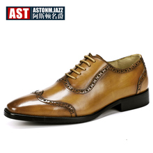Plus Size 11 12 Wing Tips Brogue Shoes Men Full Grain Leather Pointed Toe Classical Oxfords Business Man Elegant Wedding