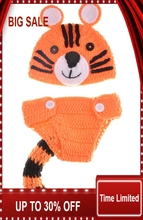 Crochet Knitted Tiger Design Baby Photography Props Infant Baby Knitted Beanie Cap Animal Costume 1set