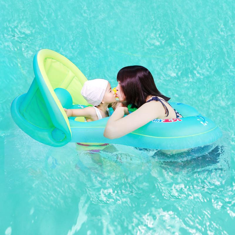 Baby Summer Swimming Float Inflatable Swim Ring Parent Child Interactive Swimming Ring With Sunscreen Shade For Beach Play