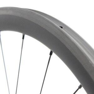 Image 5 - 1130g tylko zestaw kół rowerowych 700C z włókna węglowego koło rowerowe rurowe lub Clincher prosto Pull Hub i 4.3g mówił do Clmbing