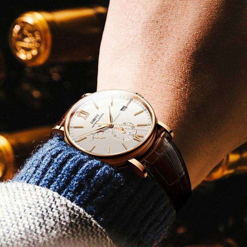스위스 럭셔리 브랜드 lobinni 남자 시계 자동 기계식 무브먼트 남자 시계 사파이어 정품 가죽 relogio L6860 1-에서기계식 시계부터 시계 의  그룹 2