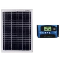 18V20W Black Solar Panels 12V/24V Solar Controller With Usb Interface Battery Travel Power Supply