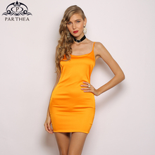 Parthea Silks Satins Green Elegant Dress Women Sexy Sleeveless Summer Can Adjust Camisole Bodycon Party Neon Orange