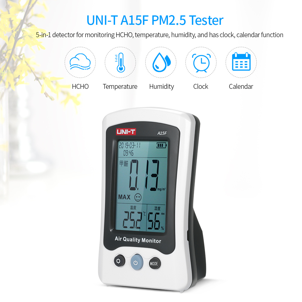 Monitor Analyzer Temperature UNI-T A15F HCHO Air Quality Humidity Tester Gas Detector Environmental Meter Digital ThermometerMonitor Analyzer Temperature UNI-T A15F HCHO Air Quality Humidity Tester Gas Detector Environmental Meter Digital Thermometer