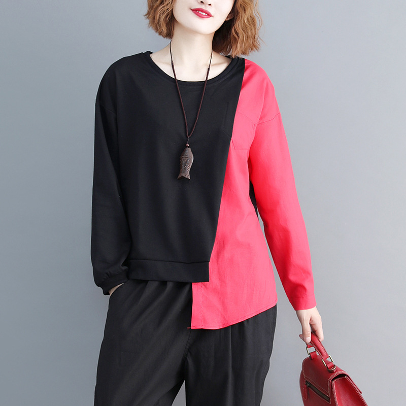 SHENGPALAE 2019 New Spring Casual Patchwork Long Sleeve Round Collar Irregular Hem Women Loose Big Szie Fashion T-shirt FL225 5