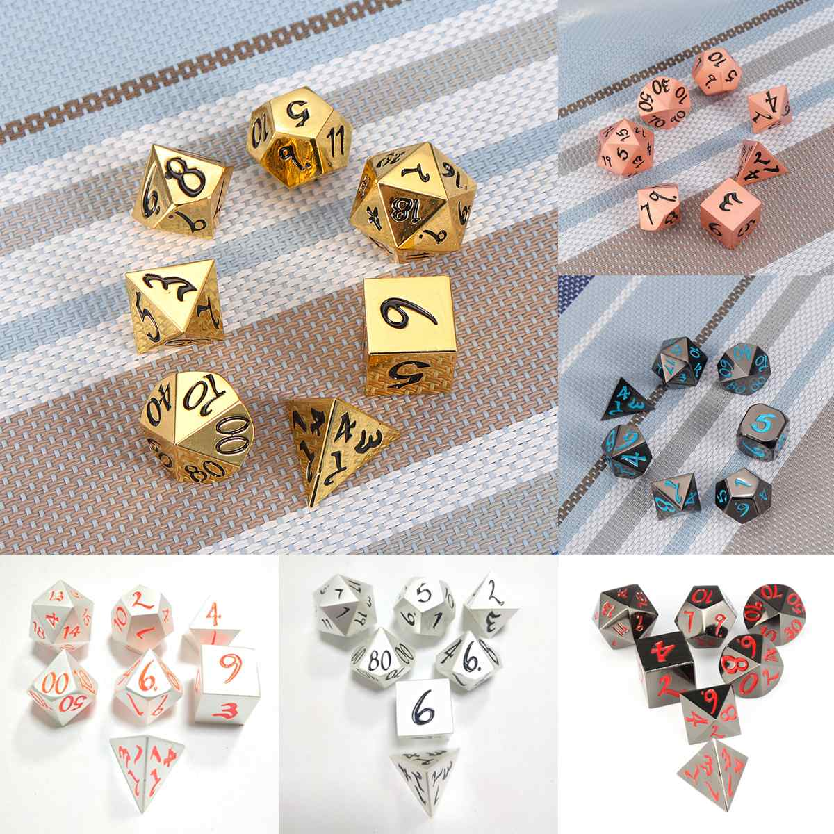7Pcs Zinc Heavy Metal Polyhedral Dice DnD RPG Kit With Black Cloth Bag Family Entertainment Game Dices Multidimensional