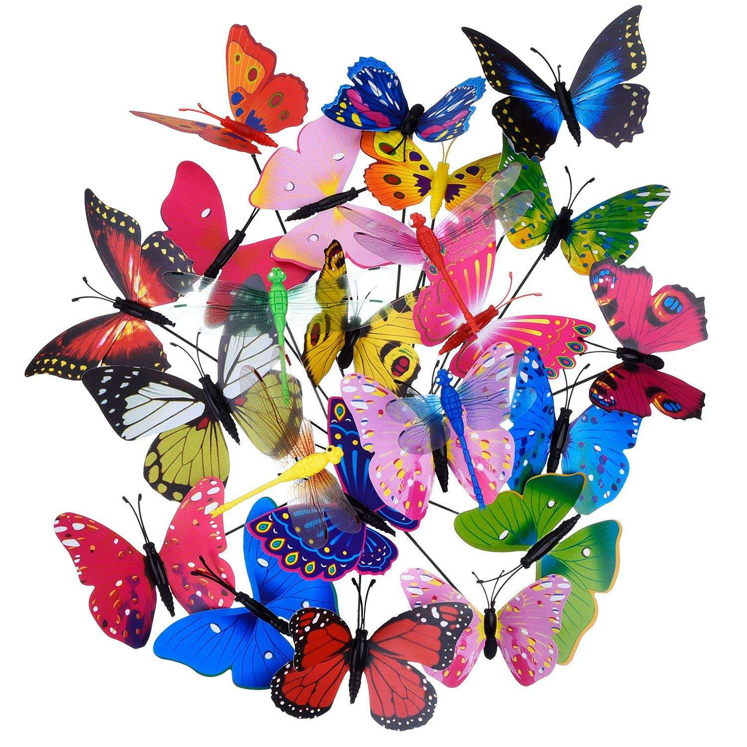 20 Pieces Garden Butterflies Stakes And 4 Pieces Dragonflies Stakes Garden Ornaments For Yard Patio Party Decorations, Totally