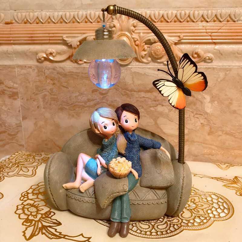 Casal Noite Luz Decoração Resina Artesanato Ornamento Ideal Natal Aniversário Ano Novo Presente Para Dia Dos Namorados Presente Criativo