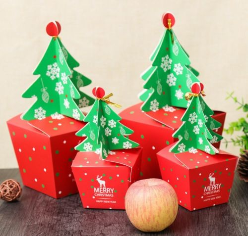 Merry Christmas 1Pc Xmas Tree Paper Candy Chocolate Cake Boxes Gift Bag Wedding Favors Christmas Home Decoration for New Year