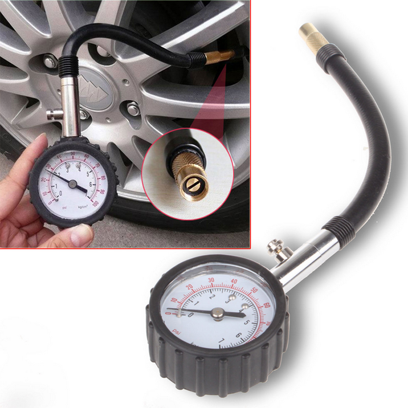 Medidor de manómetro de aire de neumático de Motor de bicicleta de coche de tubo largo medidor de presión de neumáticos de 0-100 PSI medidor de sistema de monitoreo de probador de vehículo