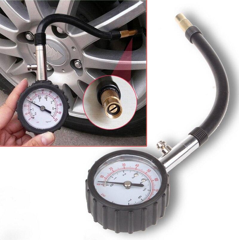 Medidor de pressão do pneu do medidor de pressão do pneu do motor da bicicleta do carro do tubo longo 0-100 psi medidor sistema de monitoramento do verificador do veículo