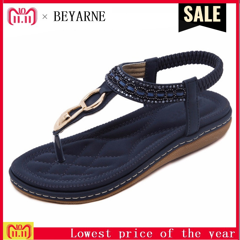 BEYARNE new women Bohemia Flat sandals shoes woman String Bead flip flop Metal Decoration beach sandals casual shoes siketu new women bohemia flat sandals shoes woman string bead flip flop metal decoration beach sandals casual shoes size 35 45