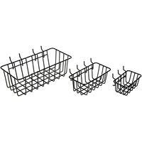 Cesta de armazenamento de ferramentas de ferro forjado cesta de armazenamento familiar cesta de metal  pegboard cesta conjunto de 3