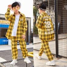 2019 New Children Hip-hop Street Dance Performance Costume Autumn Boys Girls Loose Jazz Show Yellow Plaid Shirt Pants Set