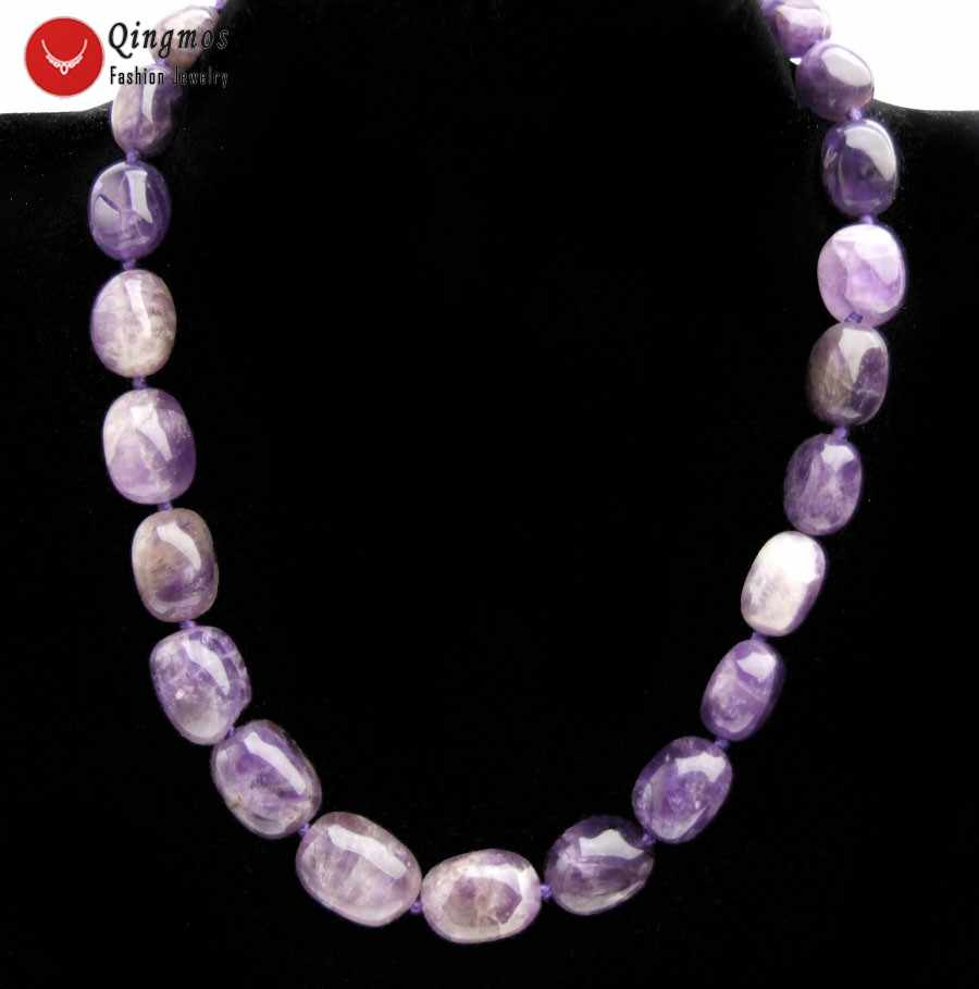 "Qingmos Natural Purple Amethysts Necklace for Women with 8-15mm Baroque Amethysts Graduated Necklace Jewelry Chokers 17"" nec6512"