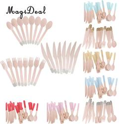 24pcs/Set Disposable Wooden Utensil Forks Spoons Knives Cutlery Set Wedding Birthday Party Tableware Serveware
