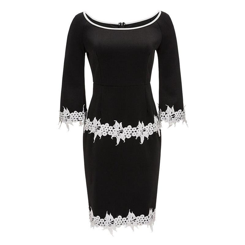 1c5a4ae1454 Bodycon Dress Women Spring Stylish Patchwork Appliques Gothic Elegant  Office Wear Black High Waist Sexy Casual Dresses Female