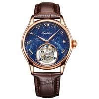 Customized Luxury Mens Mechanical Watches Star Sky Austrian Crystal Zircons 24K Gold Original Tourbillon Hollow Movement Watches