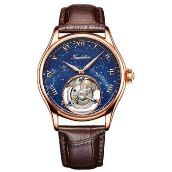Dostosowane luksusowe męskie zegarki mechaniczne gwiazda niebo austriackie kryształowe cyrkonie 24K złota oryginalny Tourbillon Hollow zegarki zegarki tanie i dobre opinie Mechaniczne Zegarki Na Rękę Mechaniczna Ręka Wiatr Limitowana edycja Wolfram stali Składane zapięcie z bezpieczeństwem