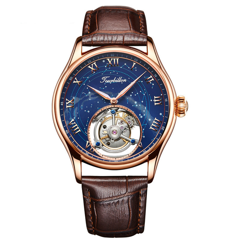 Personalizado De Luxo Mens Relógios Mecânicos Céu Estrela de Cristal Austríaco Zircons 24 K Ouro Tourbillon Oco Relógios Movimento Original
