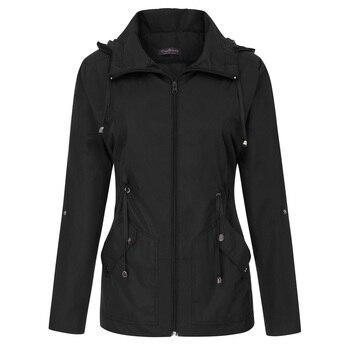 a738bddec3 Moda Otoño mujer Abrigos sueltos ligero repelente al agua a prueba de  viento chaqueta con capucha casual sólido ropa deportiva abrigo impermeable  femenino