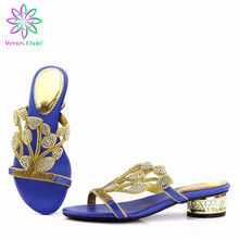 Wedding Royal Blue Flowers Shoes Without Bag Ladies Shoes without Matc