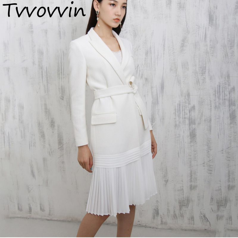 2019 New Fashion Notched Pleated Hemline White Personality Suit Type Dress Female's Long Sleeve Clothes Vestido L135