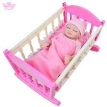 Logeo Baby 10 Reborn Doll DIY Mini Bed and Pillow bebes reborn doll Dollhouse Bedroom Furniture Toys kits Newborn