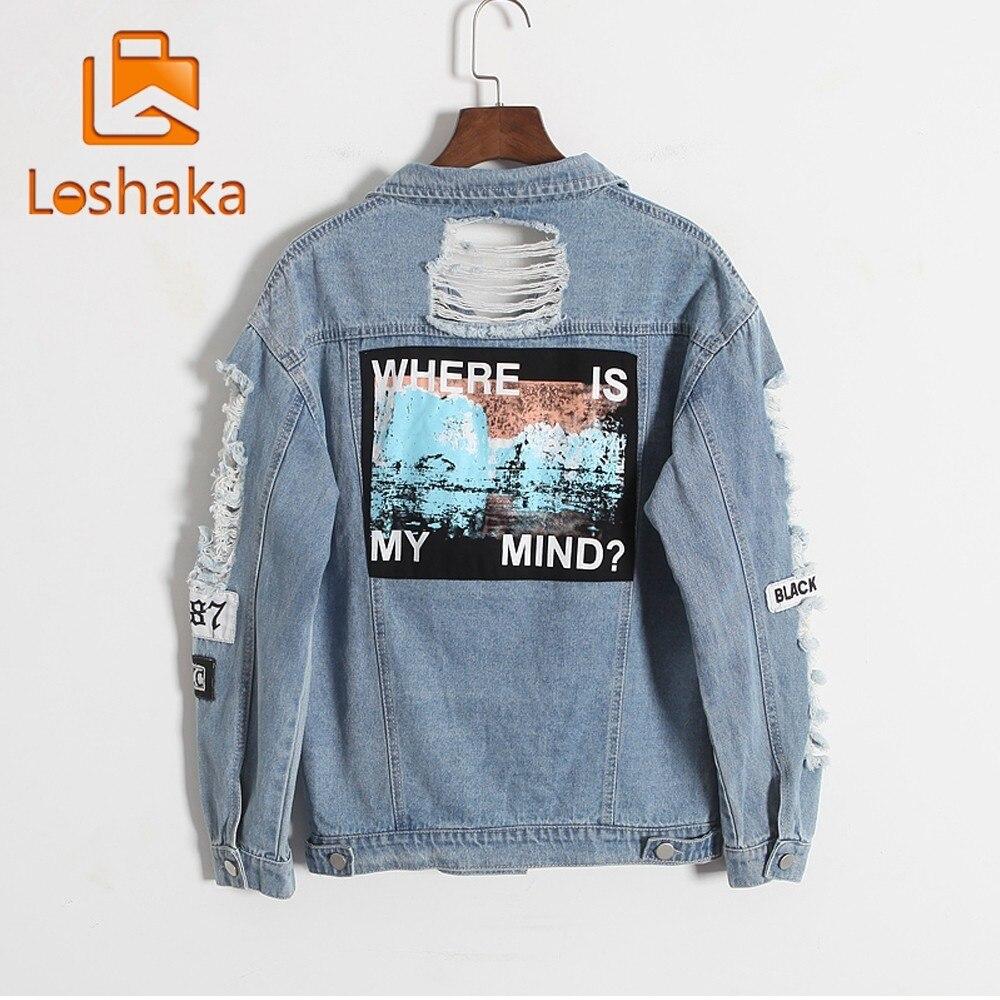 Loshaka Jeans   Jacket   Women Casacos Feminino Slim Ripped Holes Denim   Jacket   Femme Elegant Vintage Bomber   Jacket   New   Basic   Coats