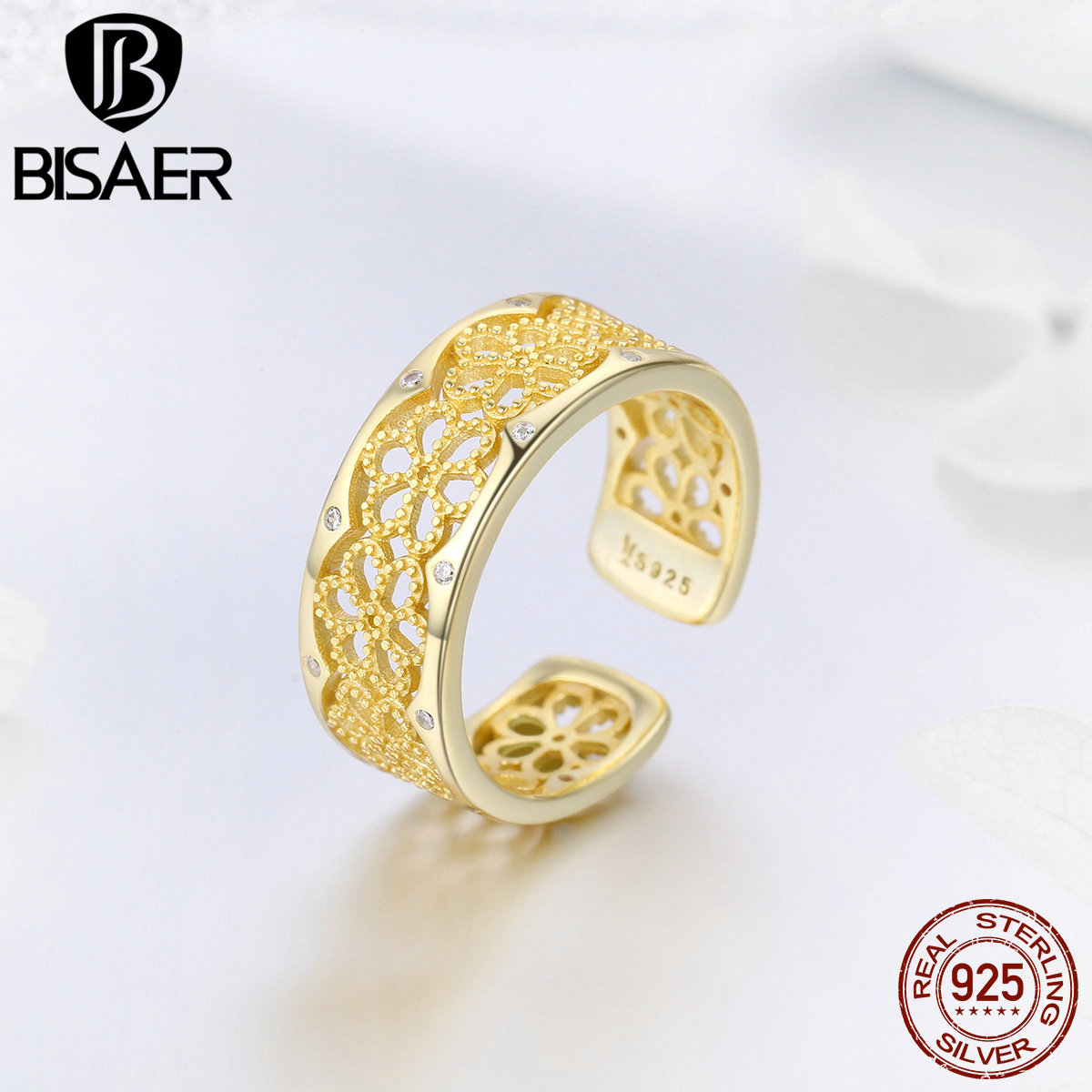 Bisaer 925 Sterling Silver Vintage Wave Geometric Adjustable Ring Gold Lace Finger Rings For Women Silver Jewelry Anel Ecr460