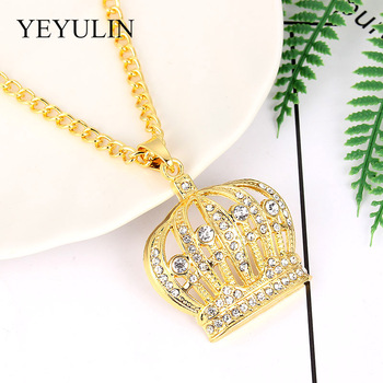 Bling Gold Hip Hop King Crown Pendants Necklace 1