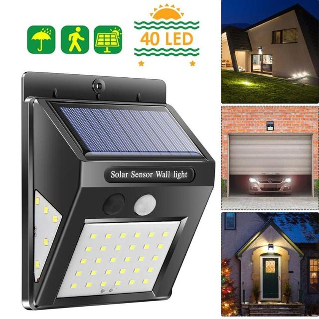40 LED Solar Power PIR Motion Sensor Wall Light Lamp 4 PCS