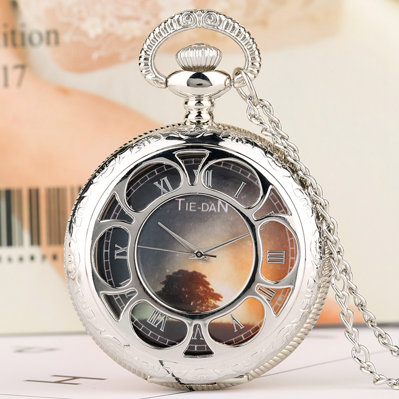 Tree Sunset Dusk Dial Design Quartz Pocket Watch Men Clock Male Silver Pendant Necklace For Men Women Kids Relojes De Bolsillo