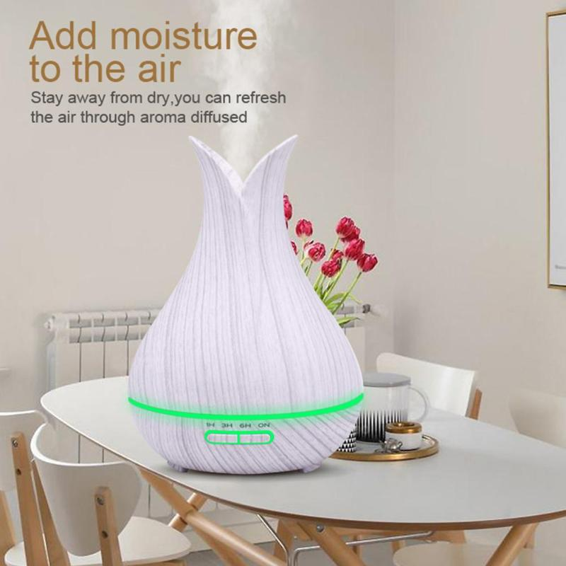 400ml Electric Air Humidifier Home Ultrasonic Lamp Timing Purifier Essential Oil Aroma Diffuser Remote Control & Manual Humidifiers     - title=