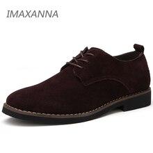 IMAXANNA 男性カジュアルシューズメンズ本革の靴の春メンズフラッツレースアップ男性スエードオックスフォードシューズビッグサイズ 48 ドロップシッピング