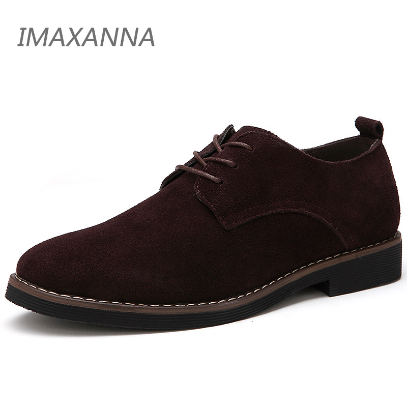 IMAXANNA Men Casual Shoes Men Genuine   Leather   Shoes Spring Men Flats Lace Up Male   Suede   oxfords Shoes Big size 48 Dropshipping