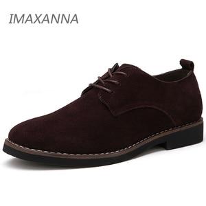 Image 1 - IMAXANNA chaussures en cuir véritable pour homme, souliers oxfords en daim, grande taille 48 chaussures décontractées, printemps, chaussures plates pour homme, à lacets