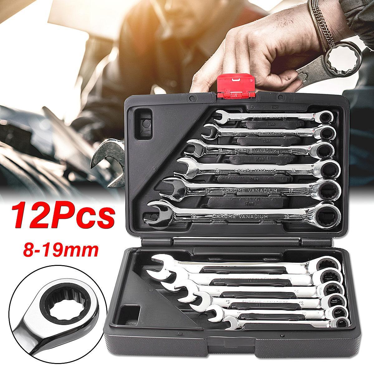 Ensemble de clés combinées à cliquet 12 pc 8-19mm ensemble de clés à cliquet à tête fixe métrique ensemble de clés à couple élevé avec boîte