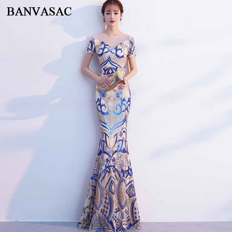 BANVASAC O Neck 2018 Sequined Mermaid Long Evening Dresses Party Lace Short Sleeve Illusion Zipper Back Prom Gowns-in Evening Dresses from Weddings & Events