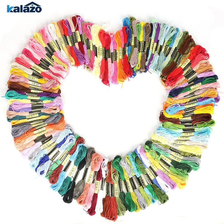 100pcs/bag Mixed Color  7.5m Cross Threads Cross Stitch Cotton Embroidery DIY Craft Material Supplies Decor Thread Line