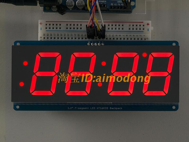 Red 1.2' 4 Digit 7 Seven Segment LED Display Clock IIC Time Uno R3