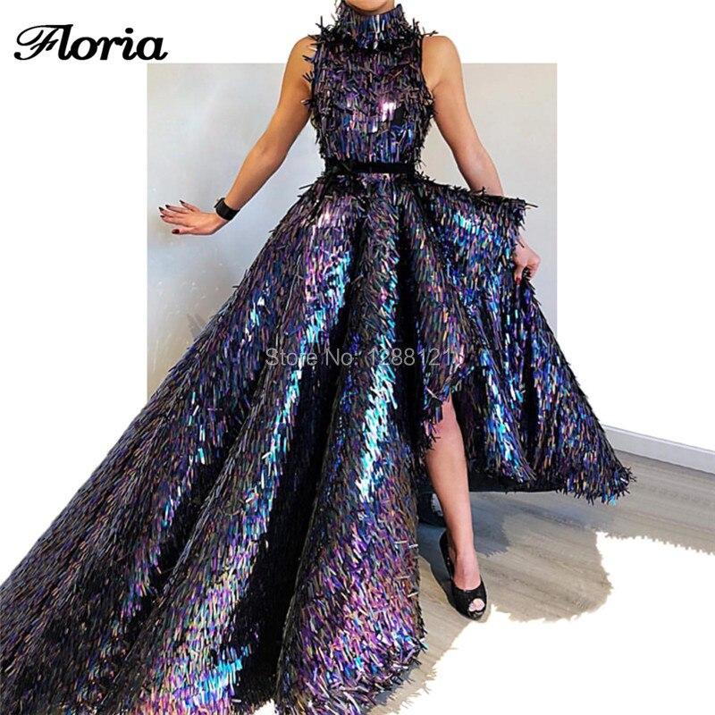 New Shiny Sequins Evening   Dresses   Vestido De Festa Arabic Dubai High Low   Prom     Dress   2019 Long African Formal Party Gowns Turkish